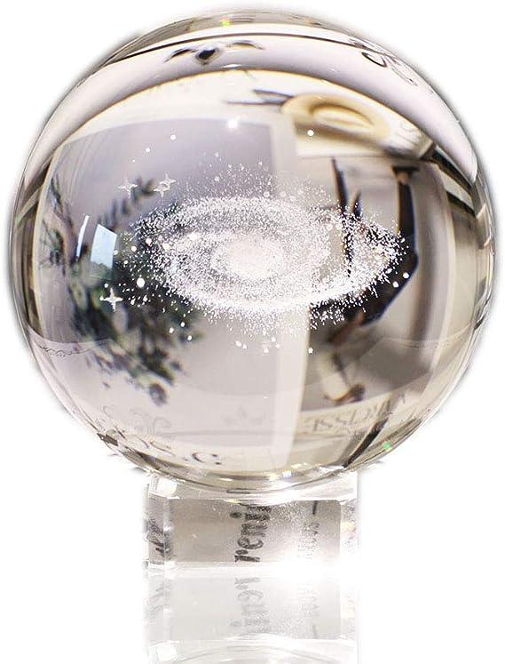 Boule de cristal galaxie ,Boule de Verre /écran Globe Presse-Papier Gu/érison m/éditation Boule avec Support Transparent pour,Boules de verre veilleuse chambre avec pied de lampe /à LED