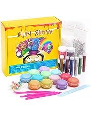 SIKAINI 12PCS Macarons Slime mit Glitter DIY Schleim Kristall Schlamm Kit Release Druck Entlastung Magie Plastilin Kinder Spielzeug (12 PCS)