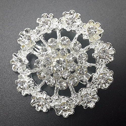 Mutian Fashion Lot 24pc Clear Rhinestone Crystal Flower Brooches Pins Set DIY Wedding Bouquet Broaches Kit by Mutian Fashion (Image #4)