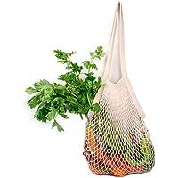 Bolsa de la compra reutilizable | Bolsa de malla de asa larga | Bolsa de tela reutilizable de algodón orgánico