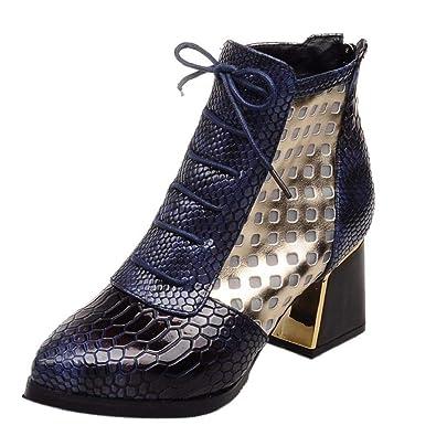 c53a830272a94e Trydoit Bottines à La Mode Serpent Talons Bottes Courtes Bout Pointu  Chaussures d'hiver Femme