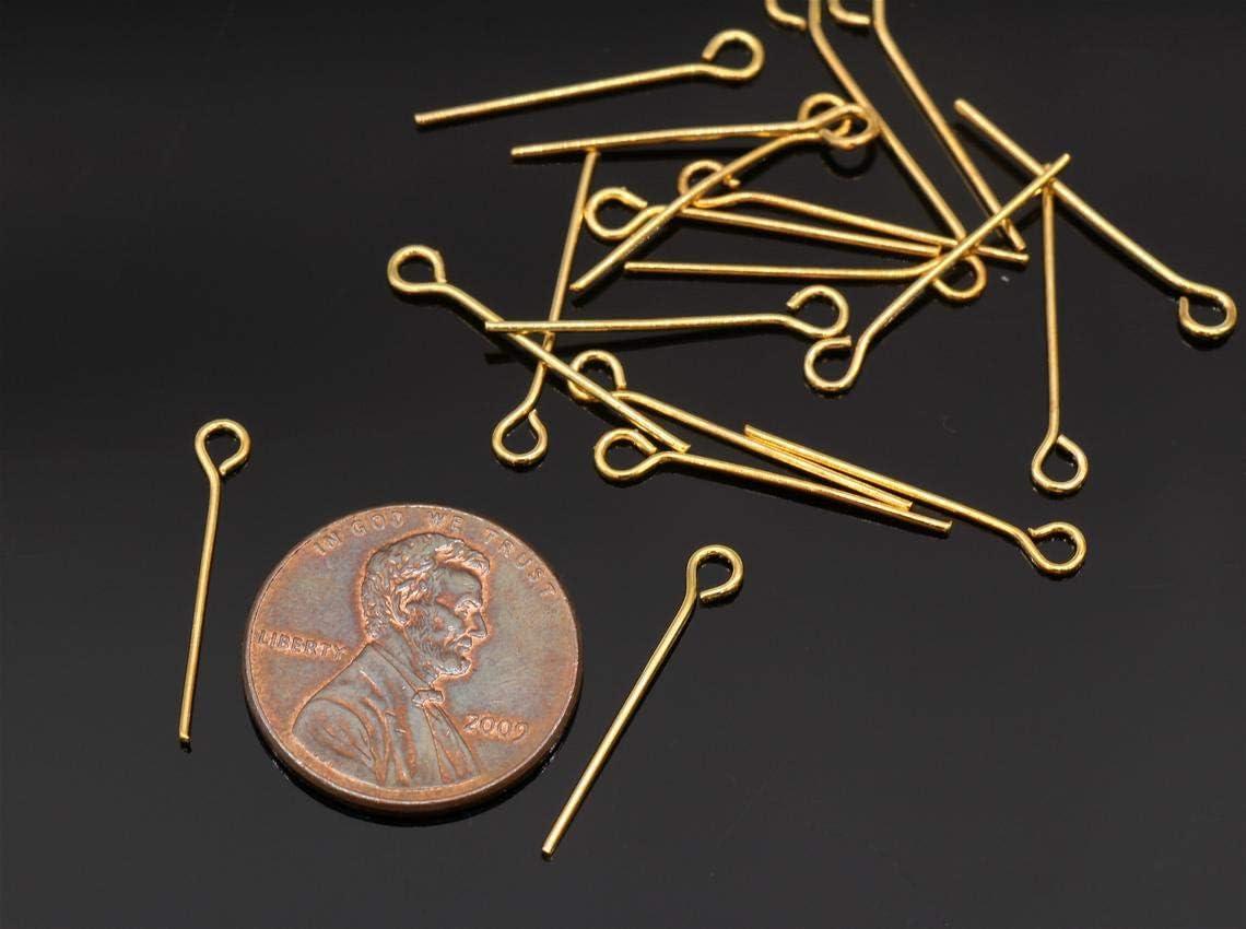 20mm Gold Plated Eye Pins 21 Gauge 100 Gold Tone Eye Pins
