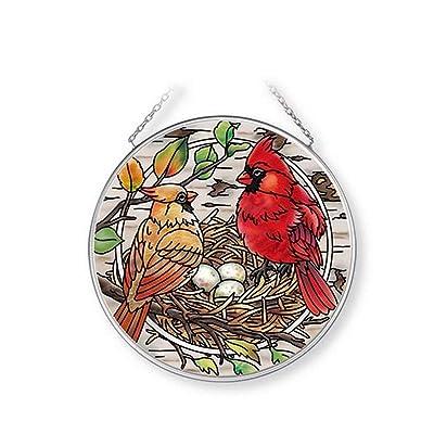 Amia Nesting Cardinals Glass Suncatcher, Multicolored: Home & Kitchen