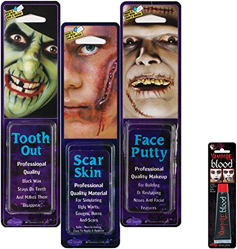 Bundle: 4 Items - 1 Tooth Out 1 Scar Skin 1 Face Putty and FREE Tube of Fake Blood