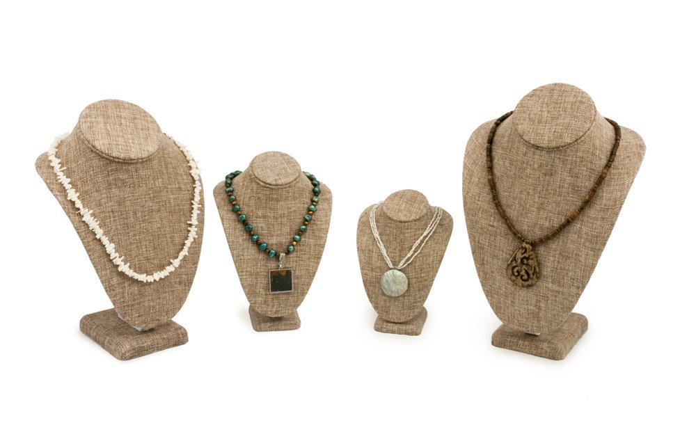 4 Piece Burlap Necklace Bust Kit Jewelry Display Bust Assortment