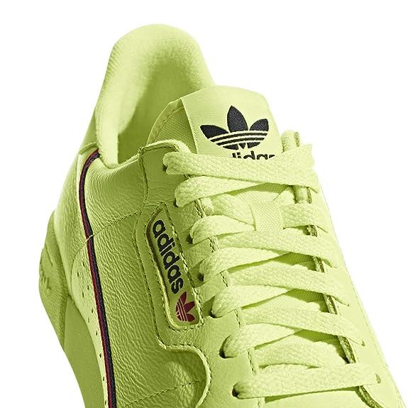 premium selection 16ef4 dca4d Amazon.com  adidas Continental 80 (Semi Frozen YellowScarletNavy) Mens  Shoes B41675  Fashion Sneakers