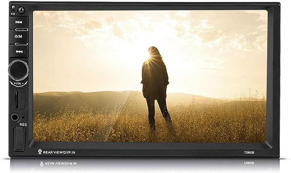 7 Pulgadas Coche Reproductor MP5 Audio Doble DIN HD Pantalla táctil Bluetooth Coche Reproductor MP5 Radio FM AUX USB Cámara de visión Trasera con Control Remoto del Volante: Amazon.es: Electrónica