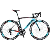 SAVA Road Bikes, Warwinds3.0 Carbon Road Bike Racing Bike 700C Carbon Fiber Road Bicycle with SHIMANO SORA 18 Speed Derailleur System and Double V Brake
