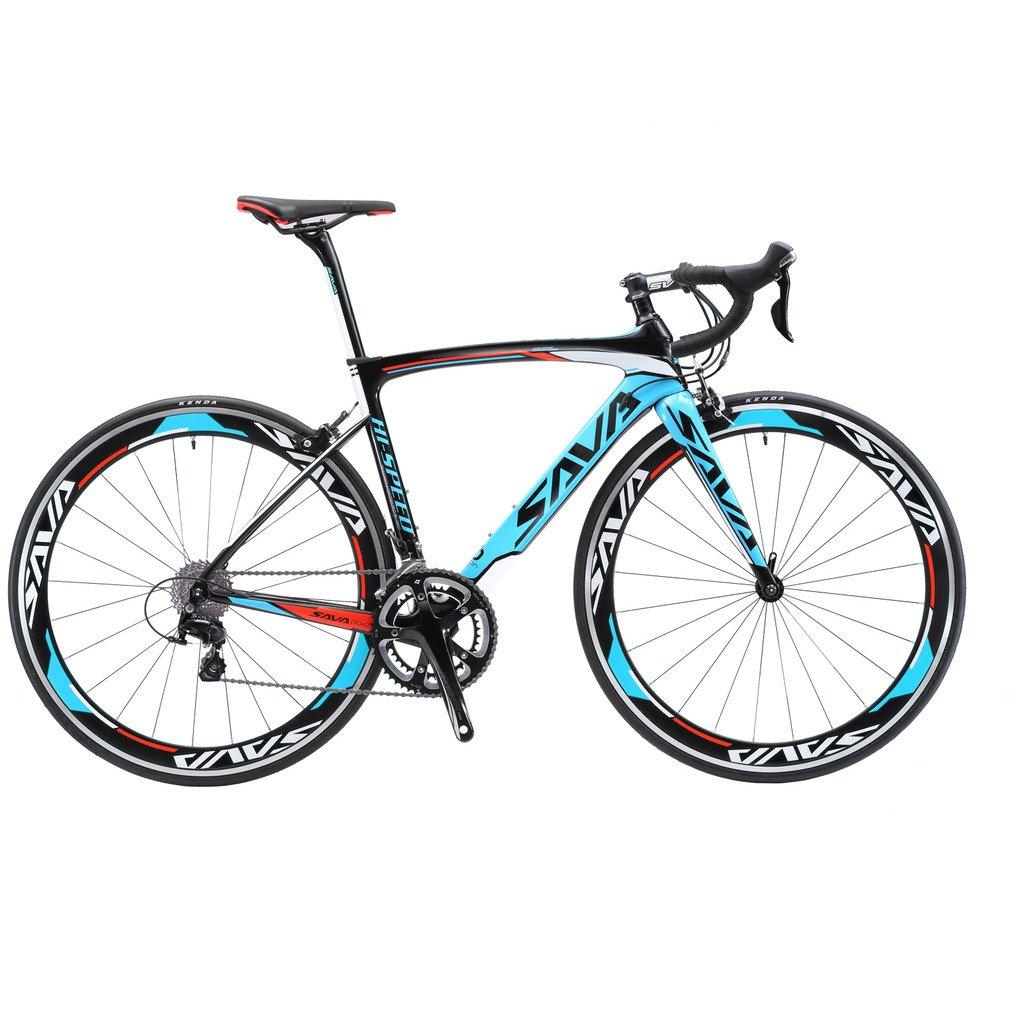 savadeck 700 Cロードバイクt800カーボンファイバーフレーム/フォーク/Seat Post with Shimano Tiagra 4700 20速度外装変速機システムと23 C Kendaタイヤ B01N4G06NO 52cm|ブルー ブルー 52cm