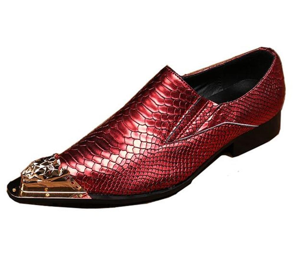 Zapatos de hombre Serpiente Imprimir Cuero Club nocturno Fiesta Negocio Formal Vestido con punta de metal Tamaño 38 a 45 , Red , EU38 EU38|Red