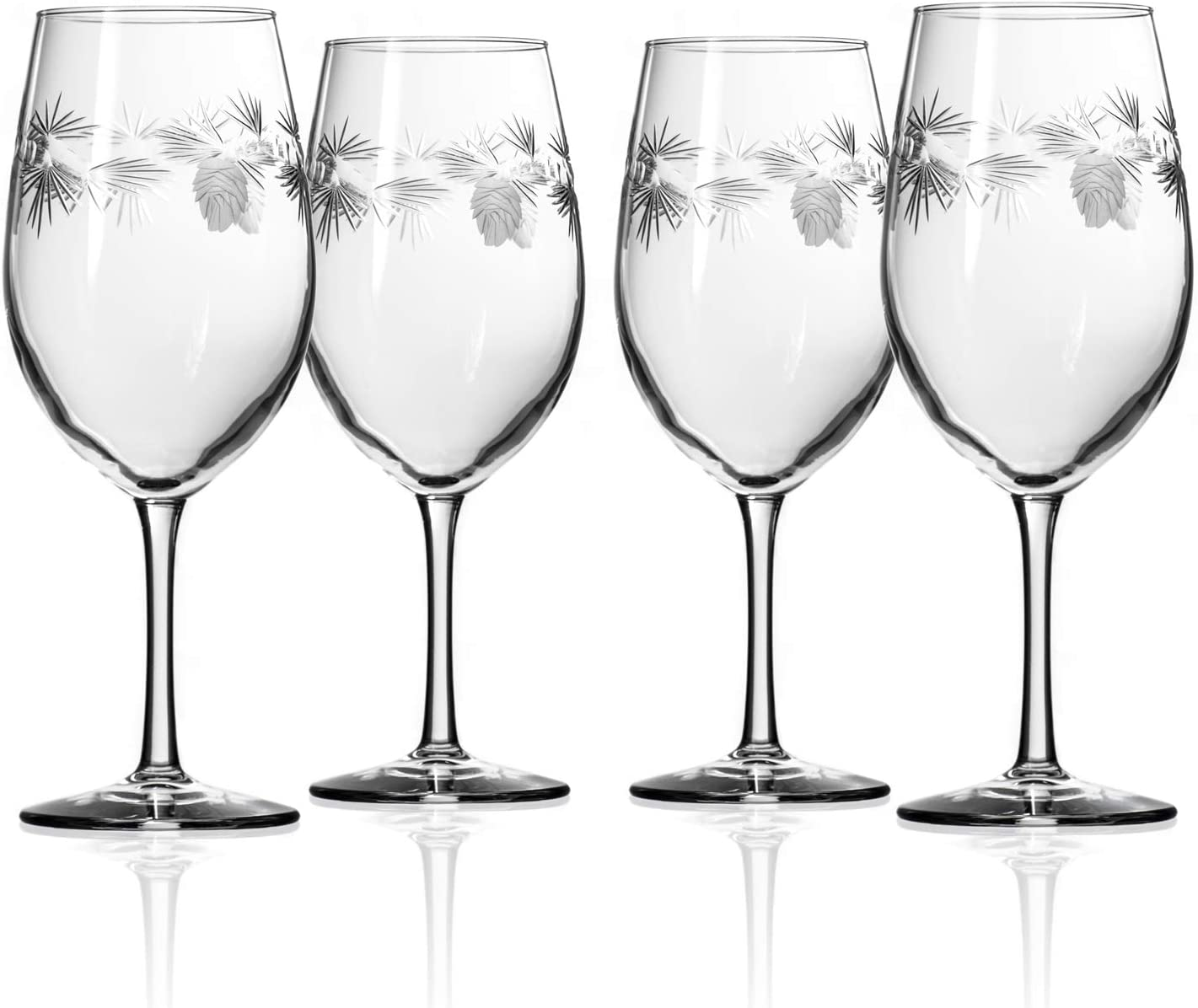 Rolf Glass Icy Pine All Purpose Wine Glass 18 Ounce - Set of 4 Large Wine Glasses – Lead-Free Glass - Engraved Large Wine Glasses – Proudly Made in the USA