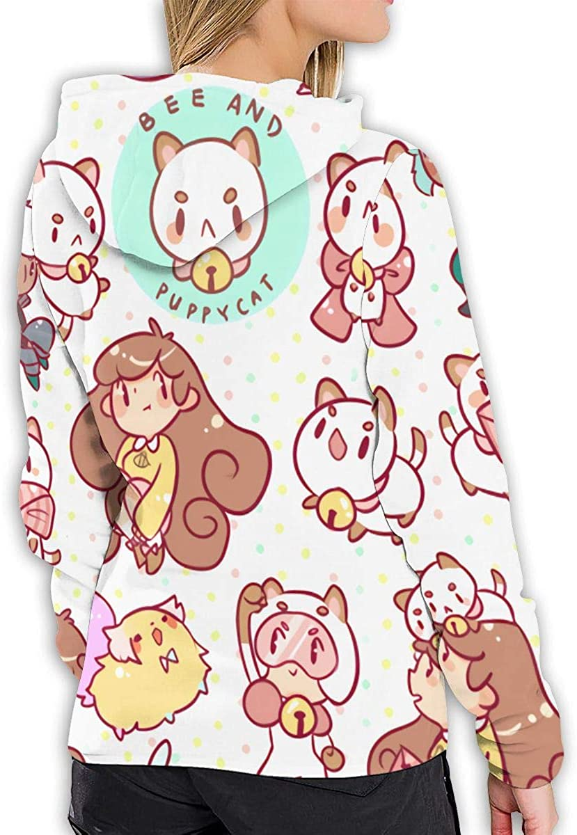 MillicentCob Bee and Puppycat Womens Pullover Long Sleeve Hoodies Coat Loose Casual Sweatshirts with Pocket