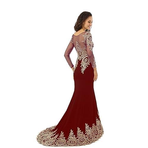 Kings Love Womens Rhinestone Long Sleeve Mermaid Evening Dress