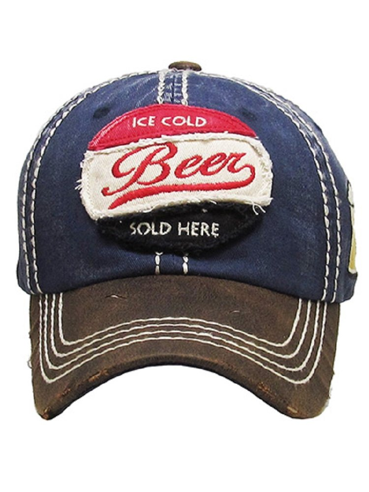 Ice Cold Beer Sold Here Navy Blue Washed Ball Cap.