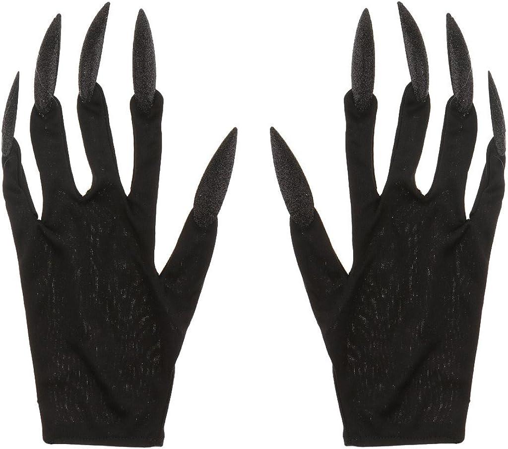 Halloween Gloves Long Glitter Fingernails Gloves Scary Devil Woman Gloves for Halloween Carnival Fancy Dress Black