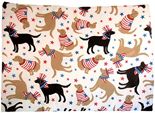 Patriotic Pooches - American Dogs in Red, White and Blue Vinyl Flannel Back Tablecloth (52