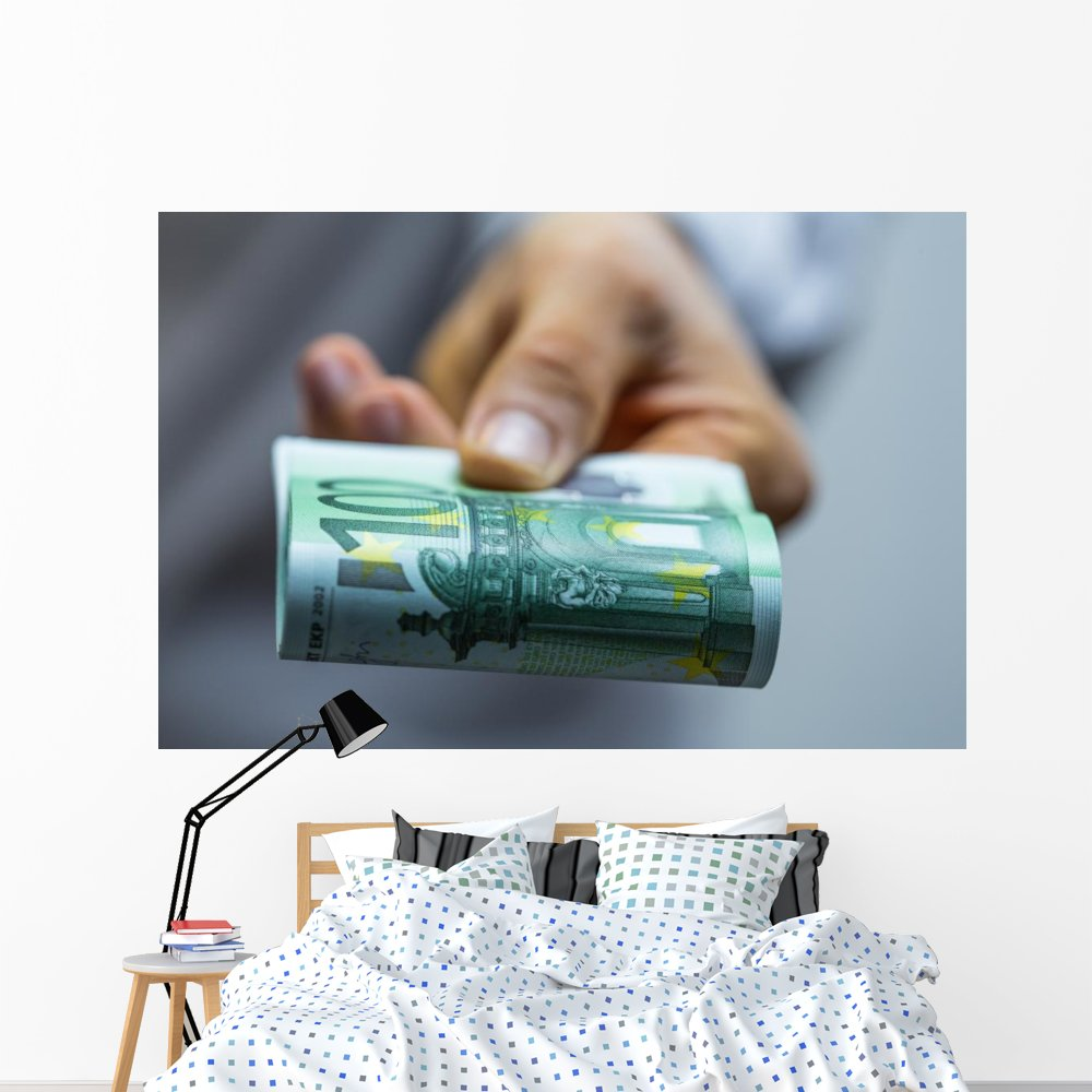 100 Euro Wall Mural by Wallmonkeys Peel and Stick Graphic (72 in W x 48 in H) WM363487