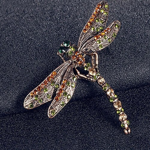 (New Charming Jewelry Women's Vintage Noble Dragonfly Crystal Scarf Pin Brooches)