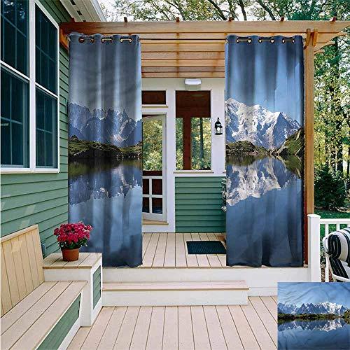 - Beihai1Sun Indoor/Outdoor Curtains,Lake Mont Blanc Alps France,Simple Stylish,W96x72L