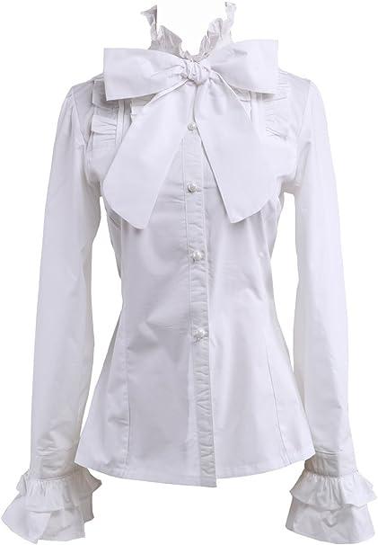 an*tai*na* Blanca Algodón Volantes Encaje Stand-Up Collar Bow Tie Lolita Camisa Blusa de Mujer: Amazon.es: Ropa y accesorios