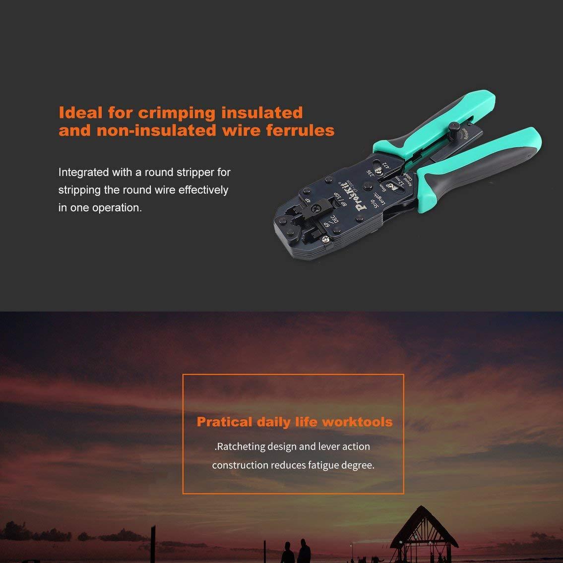 Proskit CP-200R 4 en 1 Herramienta profesional de corte de engarzado Cortadores de red AMP (Color: Negro y Verde): Amazon.es: Bricolaje y herramientas