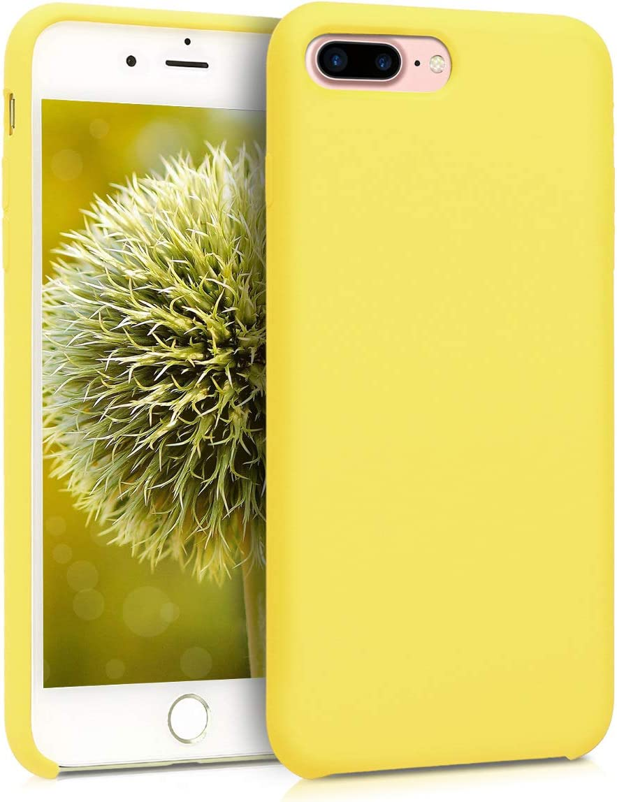 kwmobile TPU Silicone Case Compatible with Apple iPhone 7 Plus / 8 Plus - Soft Flexible Rubber Protective Cover - Pastel Yellow