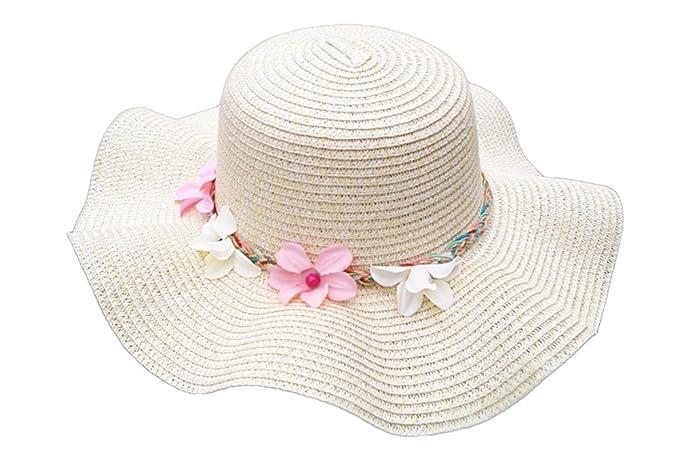 7156ea4f75cef Qingsun Damen Frauen Sonnenhut Strohhut Wellig Blumen Faltbar Groß Krempe  Einfarbig Uv Schutz Sonnenschutz Sommer