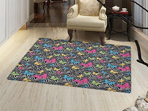 smallbeefly Zebra Print Bath Mats Carpet Colorful Butterflies