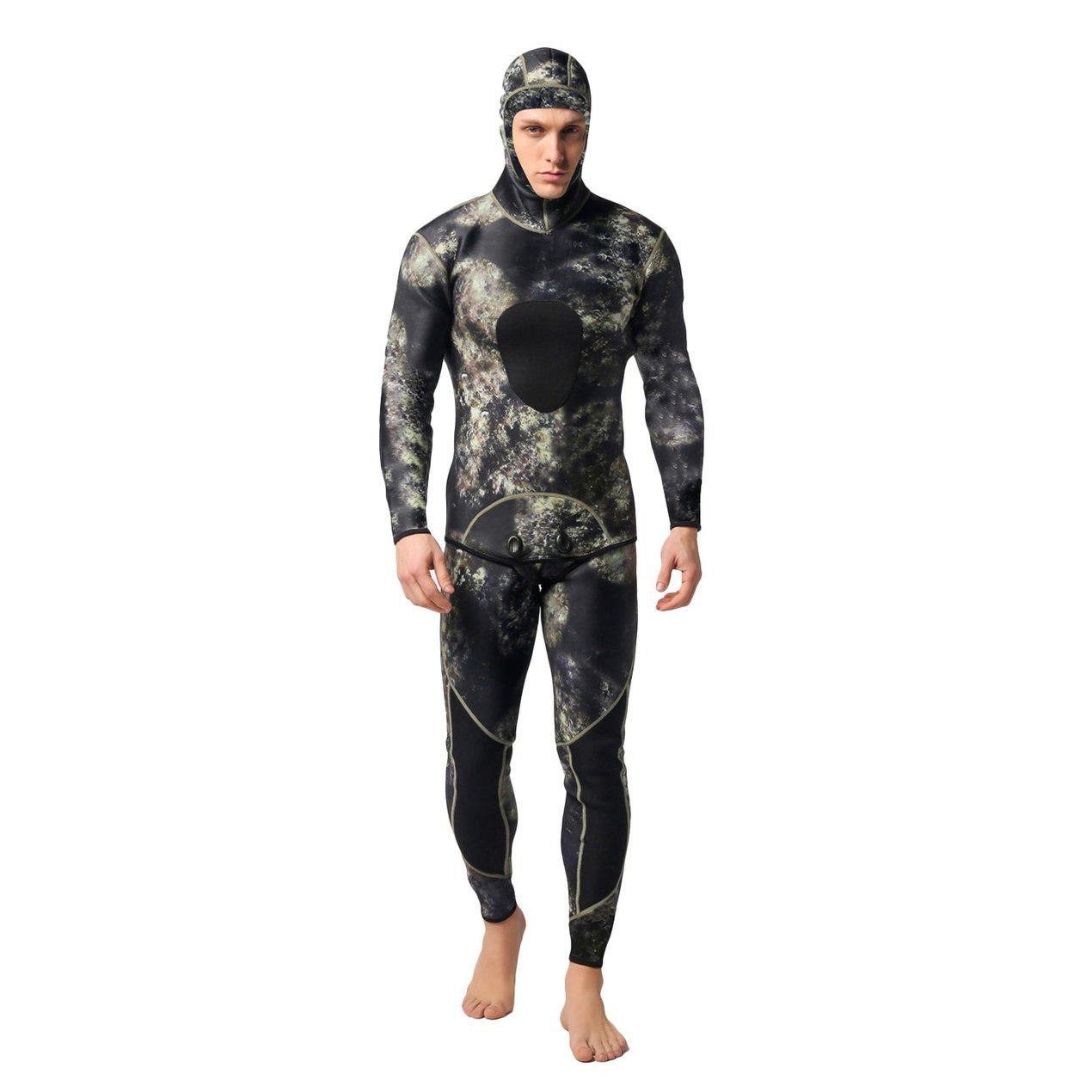Männer Volle Neoprenanzug Flache Nähte Schwimmen 3mm Neopren Wetsuit, Verstellbare Hals Schließung, Easy Glide Zip Neoprenanzug, Ideal für Surfen Segeln Jetski Kanu Schwimmen