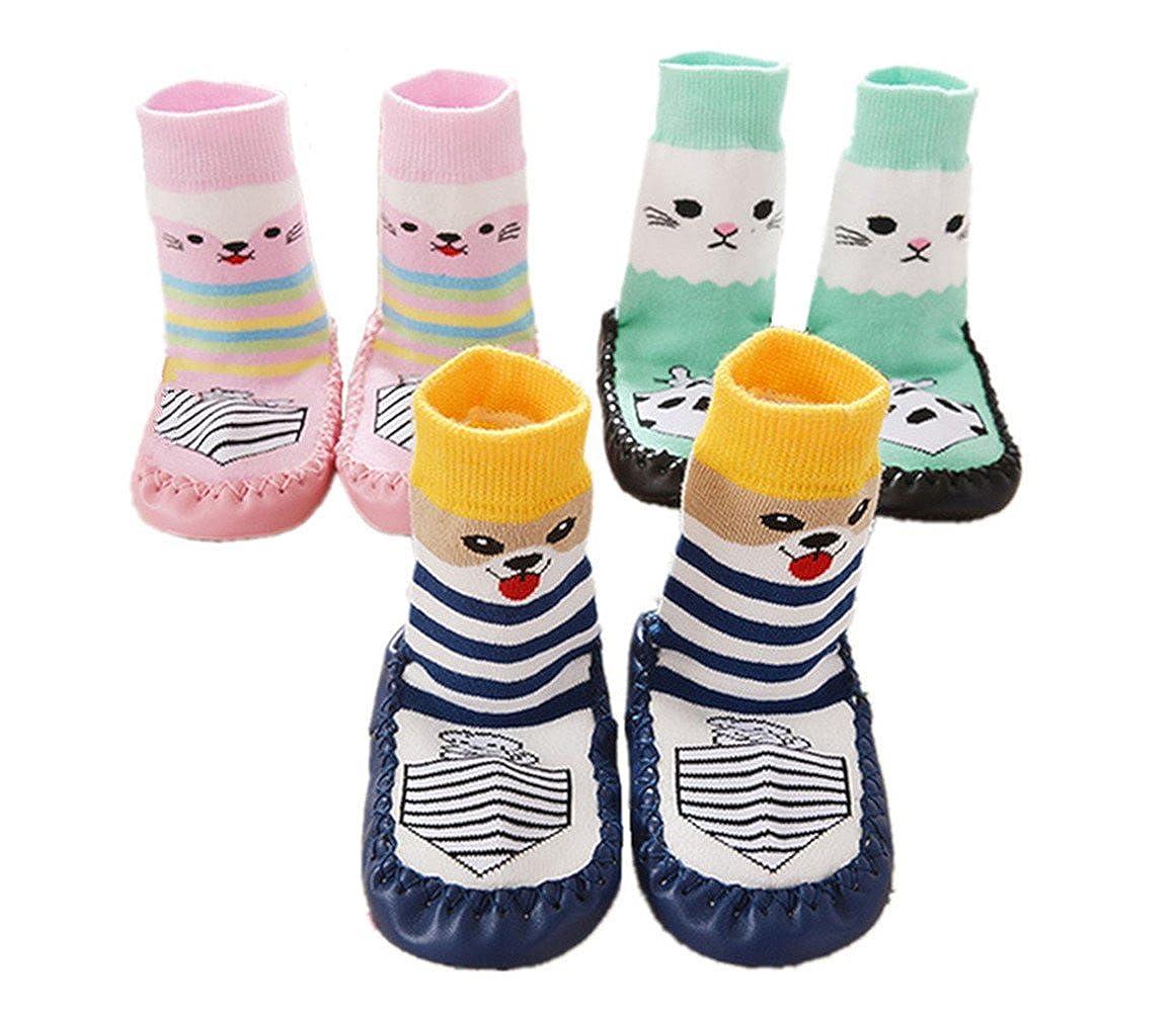 SWEETBB 3 Paare Baby Hüttenschuh, Cartoon Anti-Rutsch Boden Socken Rutschsocken, 11-15 cm, 0-24 Monate, Mädchen Mädchen