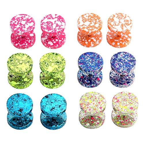 JOVIVI 12pc Mix-color Stainless Steel Colorful Fake Cheater Barbell Plugs Women Mens Ear Stud Earrings 00 Gauge - Color Plugs Pink