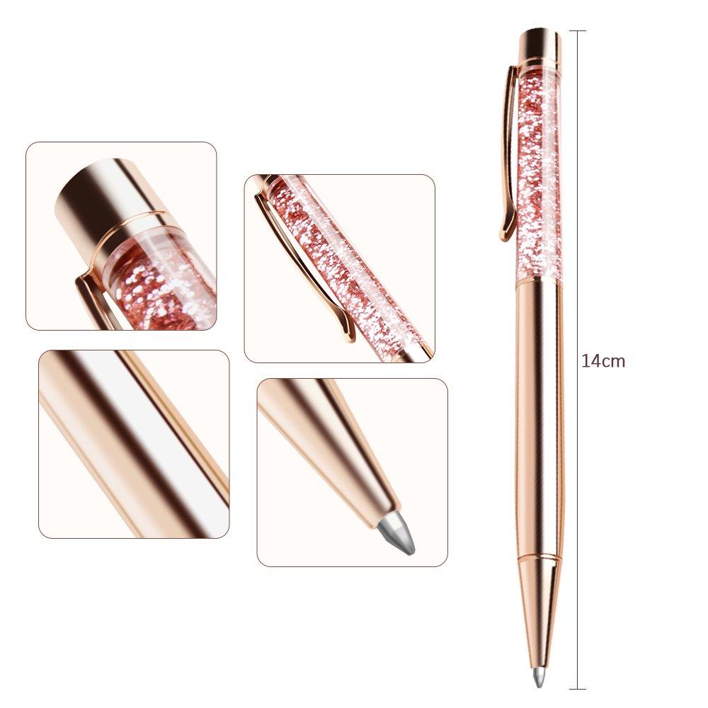 Ballpoint Pens, BYSOU 4 Pcs Rose Gold Metal Pen Refills Bling Dynamic Liquid Sand Pen Black Ink for Office Supplies