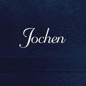 Toalla de baño con nombres Jochen bordados, 70 x 140 cm), color azul
