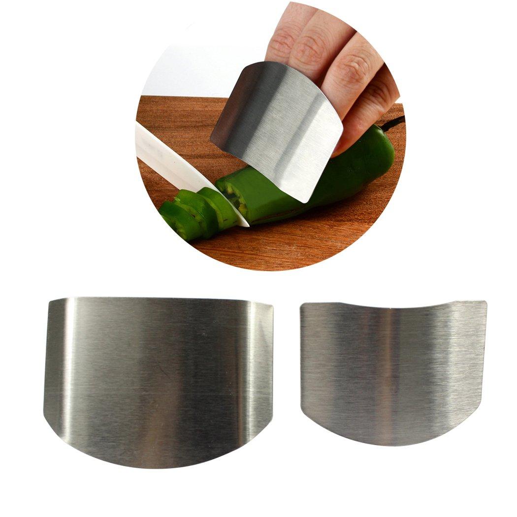 2pcs指ガードSlicing Cuttingプロテクター、ステンレススチールフィンガーガード&プロテクターSlicing指を保護キッチンツール(シルバー)  B07C3JVH8S