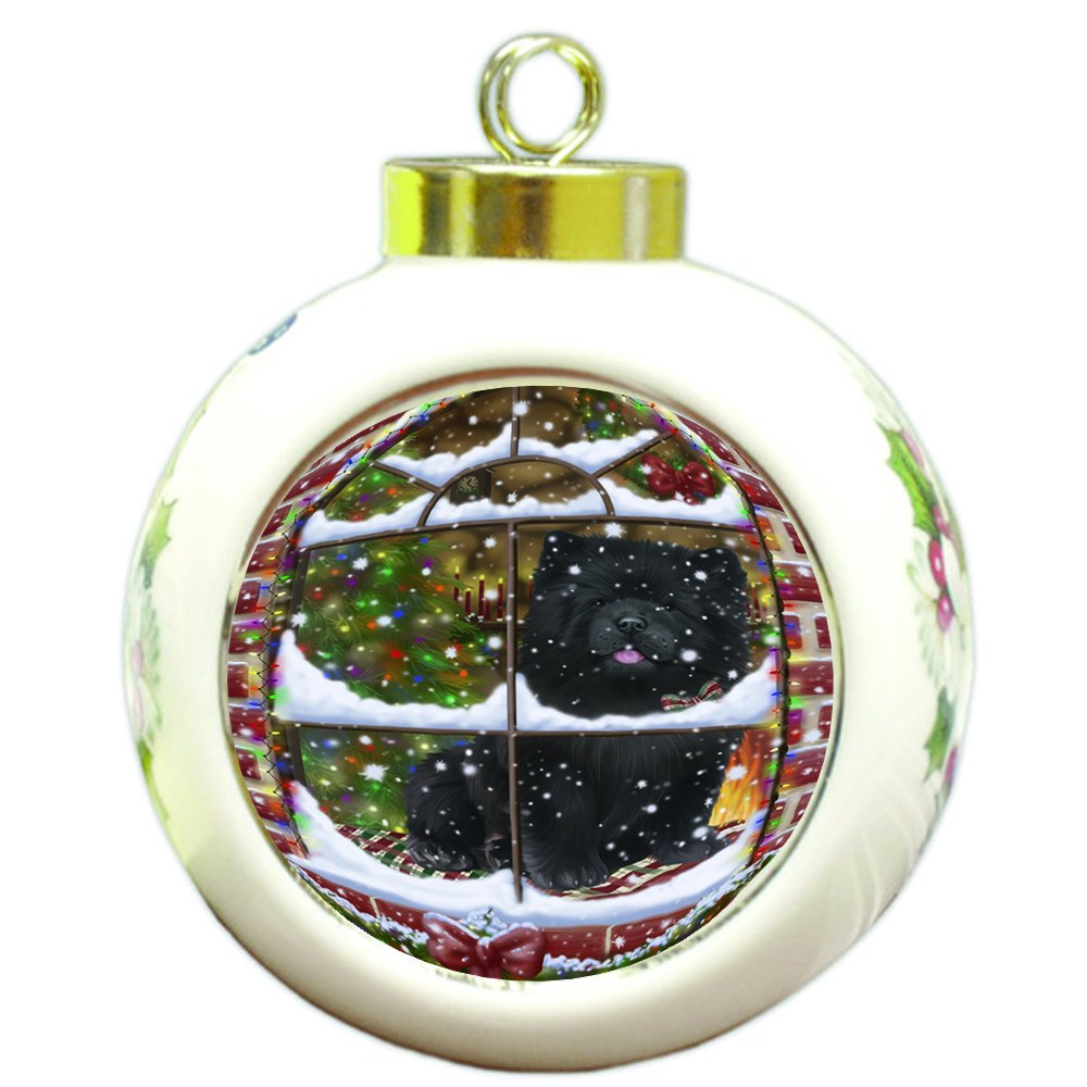 Please Come Home For Christmas Chow Chow Dog Sitting In Window Round Ball Christmas Ornament RBPOR48398