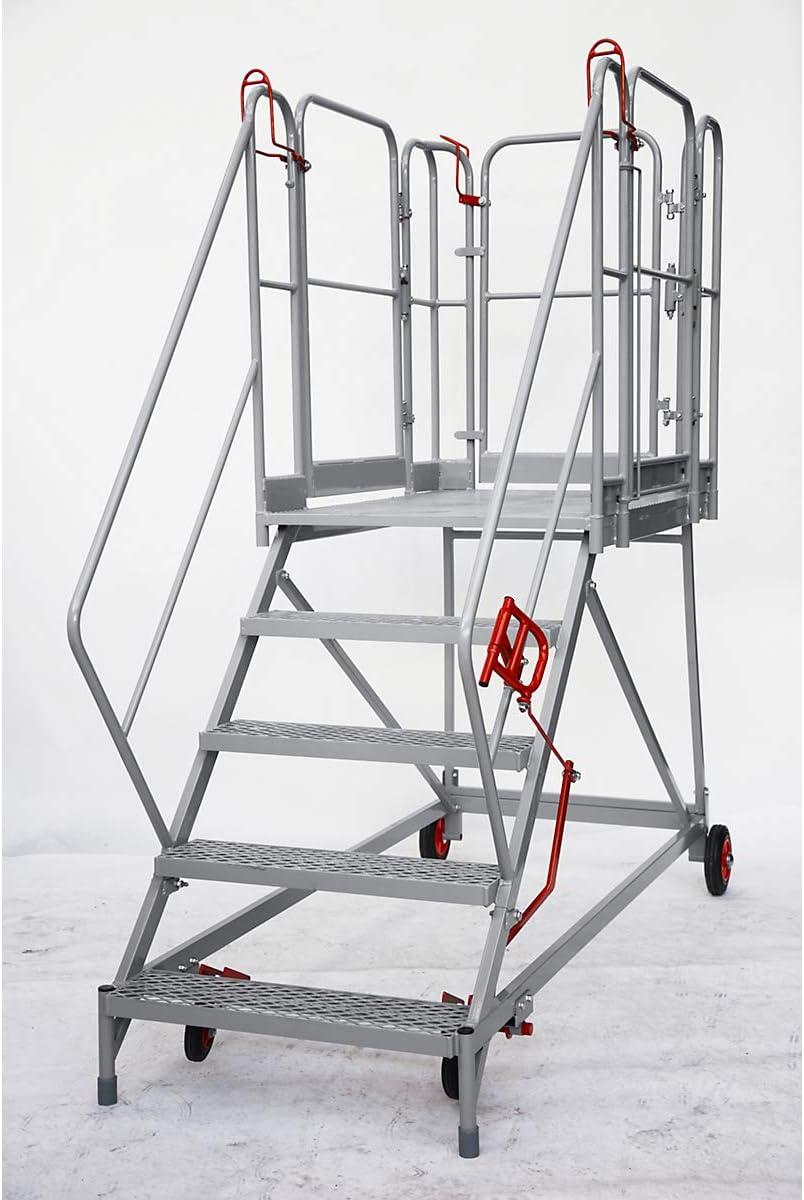 XXL Plataforma de escaleras – Rejilla niveles – 5 niveles, plataforma de altura 1150 mm – Trabajo de podio conducción Bare Plataforma de trabajo conducción Bare trabajo plataformas Escalera Plataforma de trabajo