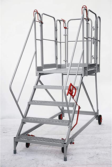 XXL Plataforma de escaleras – Rejilla niveles – 5 niveles, plataforma de altura 1150 mm – Trabajo de podio