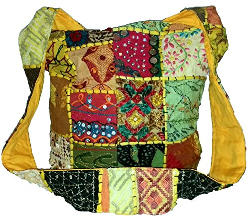 Colour Patch Sling Mirror Large Patchwork Embroidered amp; Festival Handbag Body Cross Hippie Hippy Travel Beads Beach Gypsy u671 Bag Sequin Cotton Multi Shoulder Yellow Boho wx0TY0pvf