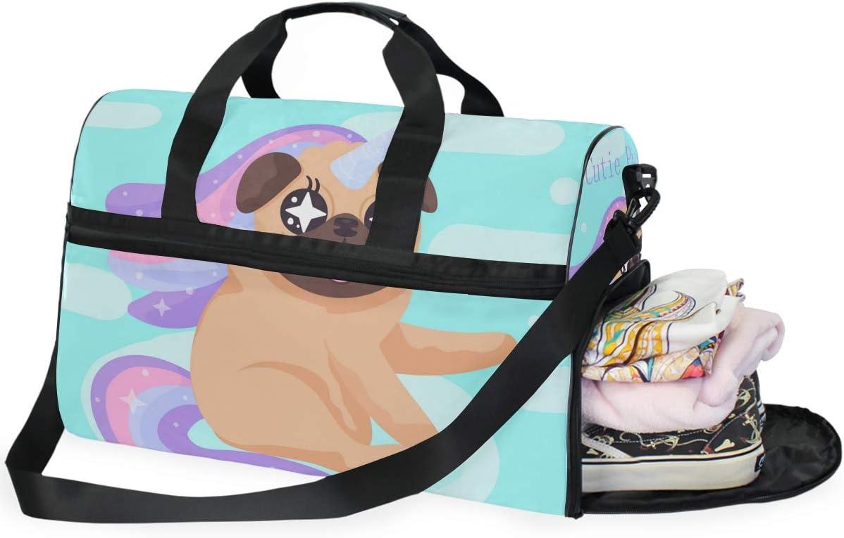 Travel Duffels Unicorn Dog Duffle Bag Luggage Sports Gym for Women /& Men