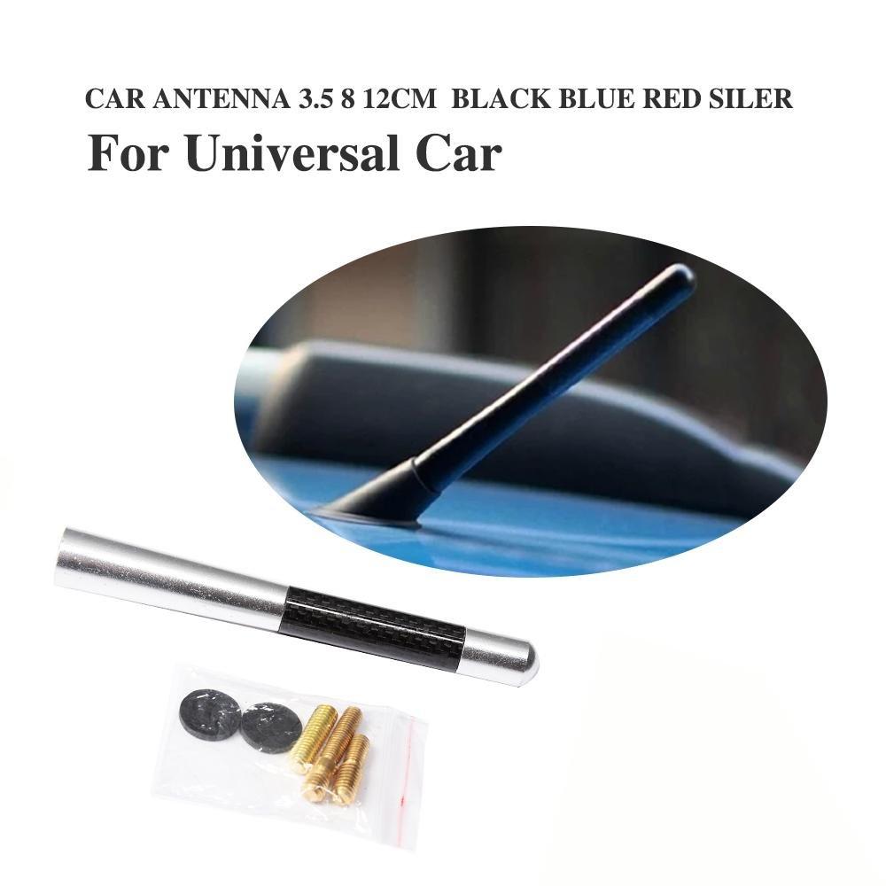 Blue 12cm Universal Aluminum Carbon Fiber Car-Styling Short Antenna Radio FM Aerial