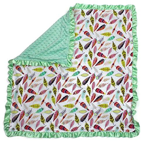 (Dear Baby Gear Baby Blankets, Bright Feathers on White, Mint Green Minky)