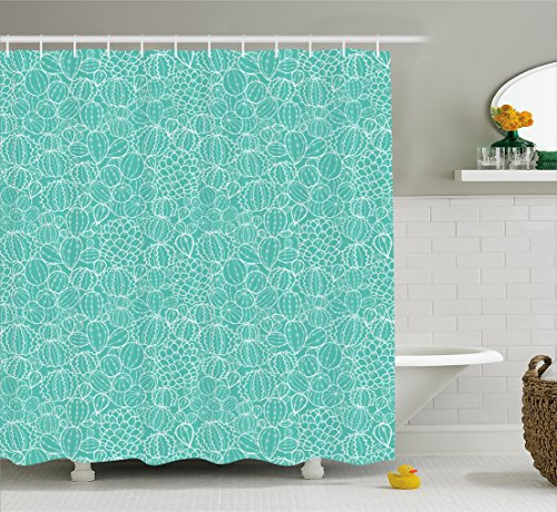 Nature Shower Curtain by Ambesonne, Hand Drawn Sketchy Mexican Cactus Fruit with Spikes with Turquoise Backdrop, Fabric Bathroom Decor Set with Hooks, 70 Inches, Baby Blue and White