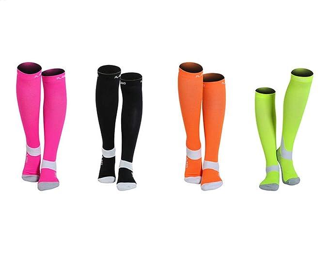 SonMo Calcetines de Deporte Calcetines Deportivos Hombre Compresion Calcetines Nylon 4 Pares Calcetines Color Negro Naranja