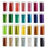 #7: 28 Arts & Crafts Extra Fine Glitter Set, Solvent Resistant Glitter Powder Shakers, 28 pack