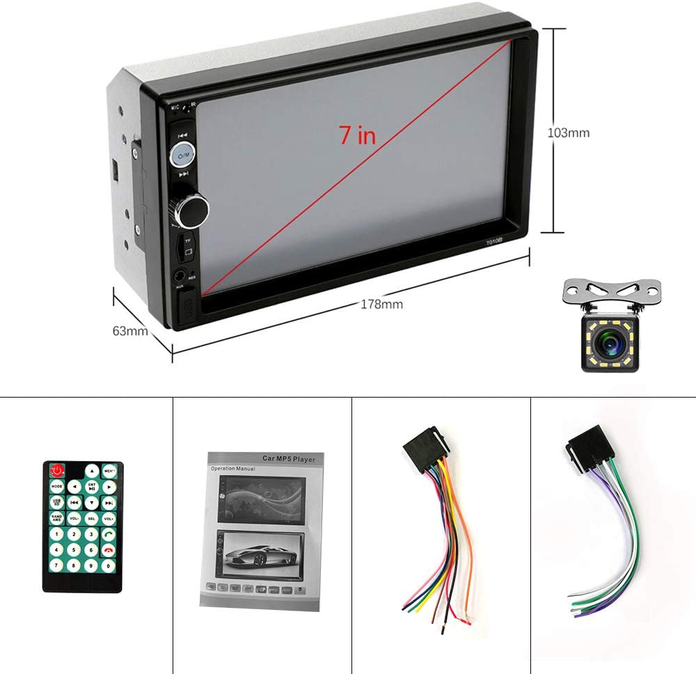 gaixample.org YYKJ Double Din Car Stereo Bluetooth 7Touch Screen 2 ...