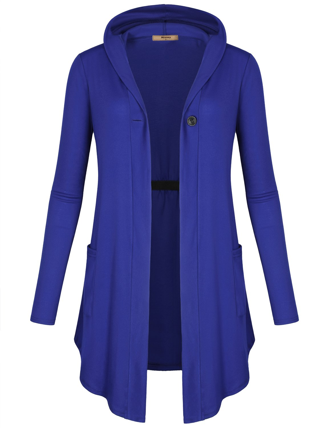 Miusey Hooded Cardigan Women, Ladies Casual Shirt with Pockets Elegant Pretty Travel Clothes Trendy Latest Fashion Soft Surroundings V Neck Sweatshirt Color Blue X Large