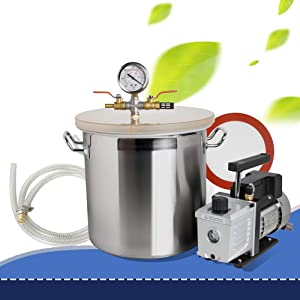 Lolicute Vacuum Chamber 5 Gallon Stainless Steel Vacuum Degassing Chamber Silicone Kit w/3 CFM Pump Hose Heavy Duty 110V 220ml-Shipping from USA 1-3 Days Delivery