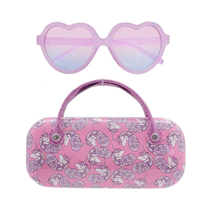 Heart Sunglasses For Kids With Unicorn Case