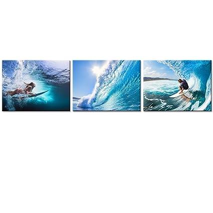 Amazon.com: Summer Sea Canvas Wall Art Decor Wave Seascape Prints ...