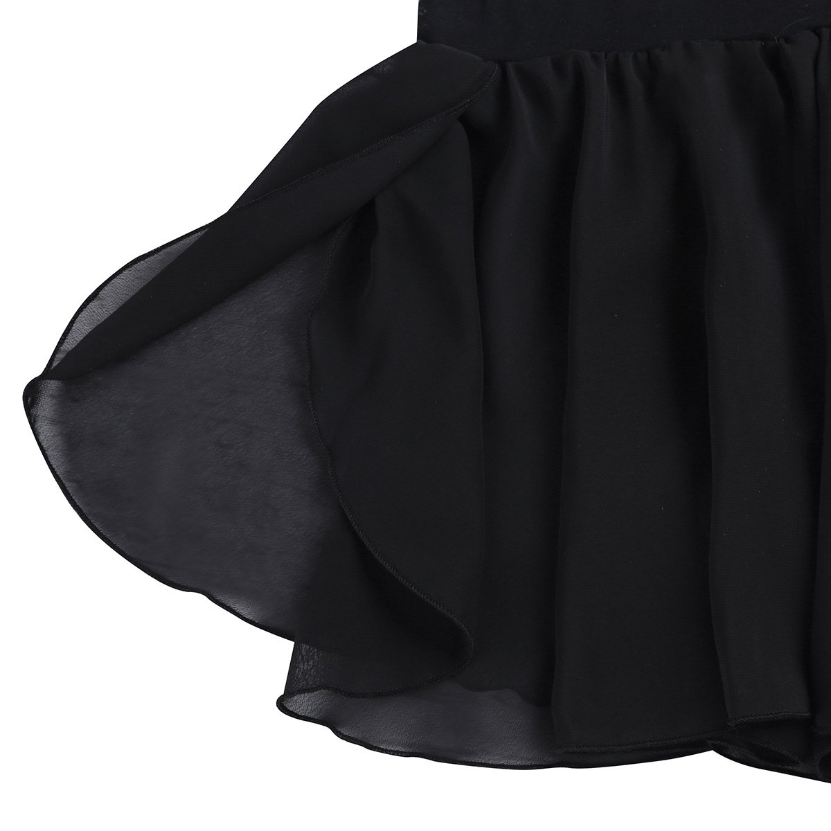 Freebily Kids Girls Dance Basic Classic Chiffon Mini Pull-On Wrap Skirt Black 7-8 by Freebily (Image #3)